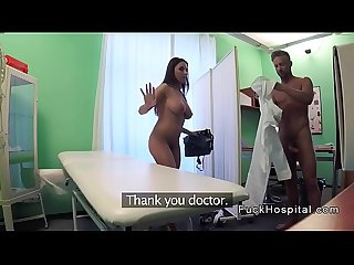 Busty babe sucks doctors dick through screen
