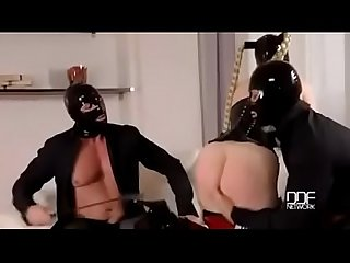 Latex Lucy mystery masks latex loving threesome for fetish lovers