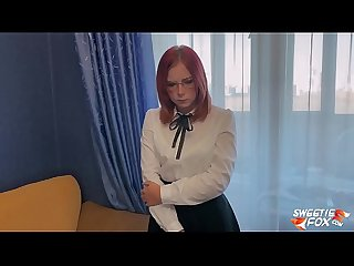 Schoolgirl Was Caught Masturbating Dildo and Facefucked and Hard Fucked - Cum On Glasses