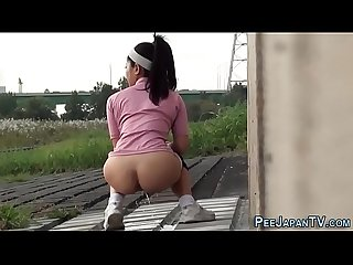 Asian babes publicly piss