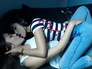 2 Hot brazilians kiss on live webcam