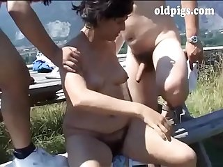 Hiker mature couple fucking outdoor