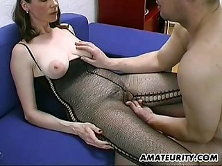 Busty and hairy Amateur milf Blowjob comma titjob with cum on tits