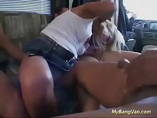 Busty milf picked up for bangvan orgy