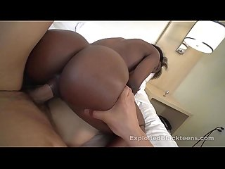 Ebony Teen takes a Hard Cock in Her Ass in Black Anal Video