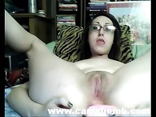 Teen with glasses double dildo masturbation www period camsbomb period com