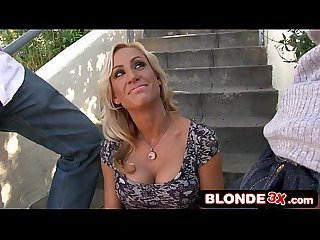 Blonde bimbo milf zoey portland goes for interracial gangbang