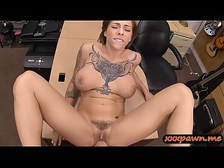 Busty woman with tattoo banged so hard at the pawnshop