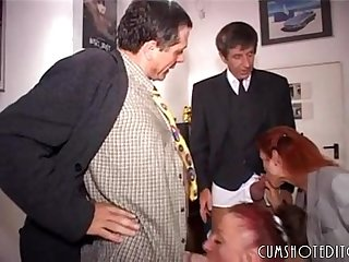 Nasty german secretaries pleasing two cocks