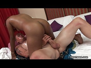 Oiled up and tanned Asian slut straddles her man's cock