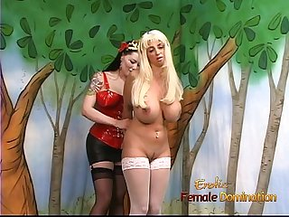 Ravishing blonde Maiden with massive tatas gets spanked by her mistress