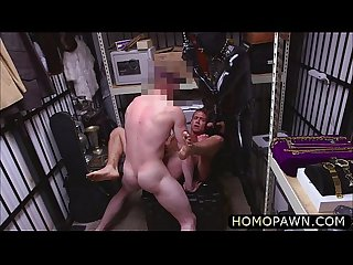 Hunk straight dude gets assfucked in the shop by two horny pawnshop staff