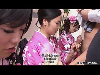 Three geishas sucking on one lonely cock