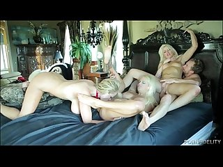 Three busty blondes fucking a very lucky stud