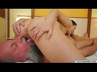 cute babe blows old man