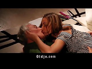 Cutie school girl fucking old teacher after crazy blowjob cum swallowing