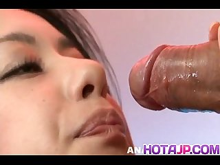 Kyoka ishiguro in lingerie sucks cocks and rubs them with feet