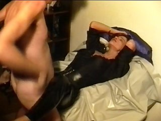 Sperm traudl with crotchopen pvc trousers gets a fuck without foreplay