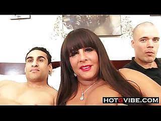 Auntie milf threesome with 2 nephews