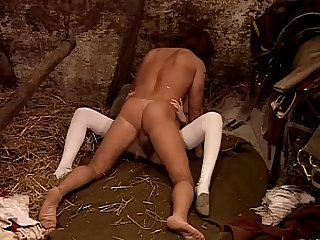 Hot whore in historical dress banged in a barn
