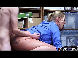 Busty security MILF felt a shoplifting guys big long cock
