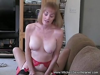 Grandma Rides The Hard Cock On Couch