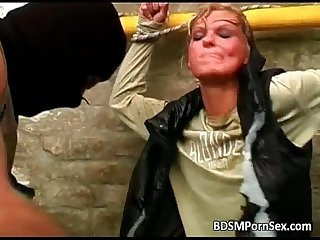 Hot blonde slut is being t0rtured