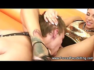 Hot domina massages cock with feet
