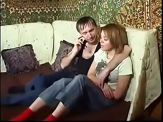 Drunk russian father and his shy daughter