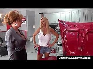 Mature Cougar Deauxma Sexes Up Busty Mechanic Brooke Tyler!