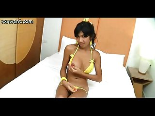 Teen indian ladyboy pleasuring big dick
