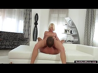 Petite blonde licked and rammed by Rocco