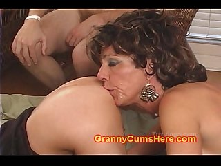 Filthy grannies suck anal cream pies