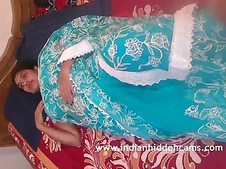 Mallu Bhabhi Naked Stripping Blue Sari Playing With Her Indian Tits