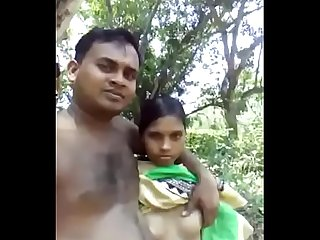 cute indian lovers outdoor naked selfie and hairy pussy show