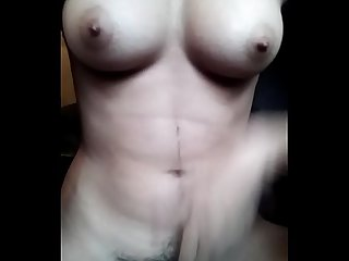 indian babe boob press and masturbating