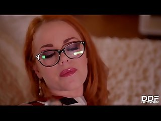 Redhead sexpot Ella Hughes fills her hot wet pussy with transluscent dildo