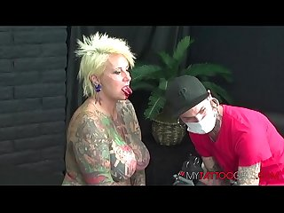 Heavy Tattooed Model BlackWidowXXX Getting Her Tongue Split