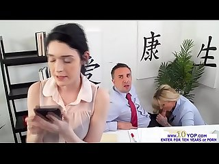 Babe Ryan Conner fucked form behind in the office