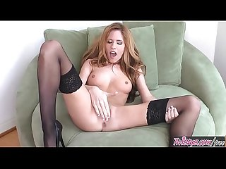 Hot brunette (Bree Morgan) Fingers her self in nylons and heels - Twistys