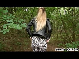 Misha Cross shows off ass and screwed in the woods for money