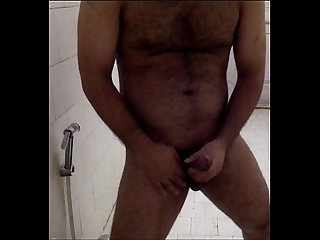 Horny Indian Guy teasing in bathroom and playing with his big cock! ;)