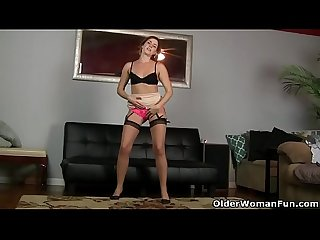 American milf Helena goes to town on her hairy lady bits