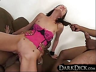 White Hailey Bang Fucks Black Cock interracial gangbang