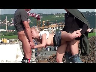 Very cute little teen girl PUBLIC gang bang threesom at a construction site