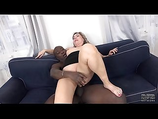 Chubby Mom Big Ass Fucks Hard In Interracial Porn Video takes mouthful of cum