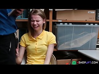 Russian slender shoplifting teen got punish fucked