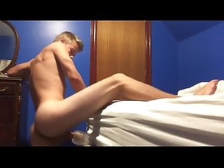 Cute blonde butty boy fucks a fleshlight in his room