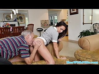 Naughty schoolgirl pussy pleasured by old men