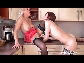 MOM Mature desperate housewives in high heels and stockings fuck in kitchen